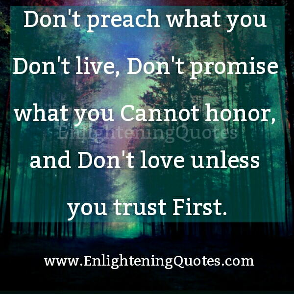 Don't Love unless you trust first