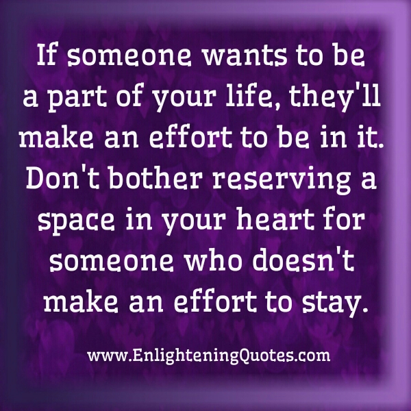 If someone wants to be part of your Life