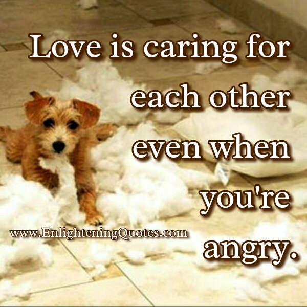 Love is caring when you are angry